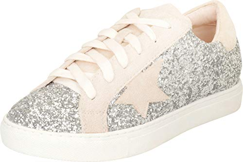Cambridge Select Women's Low Top Round Toe Star Lace-Up Fashion Sneaker,7 B(M) US,Silver Glitter ()