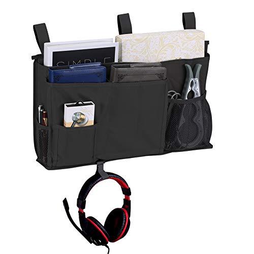 Bedside Caddy Bed Caddy Storage Organizer Hanging Bag for Hospital Bed Bunk Desk Office Car Backrest Dorm Bed Rails Baby Bed Baby Cart 8 Pockets Black