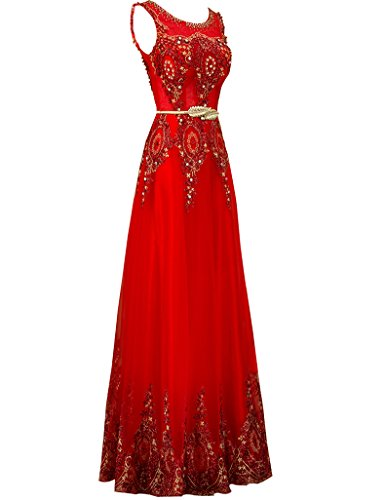 Partei Stickerei Lange Spitze Abendkleid Rot abschlussball kleider Erosebridal wqIpvFw