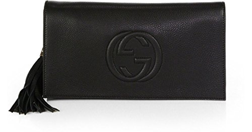 Gucci Soho Leather Clutch Envelope Black Bag Tassel Handbag (Gucci Leather Clutch)