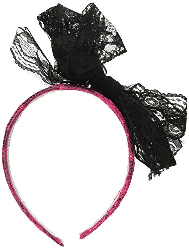 Forum Novelties 80's Neon Lace Headband with Bow, Pink ()