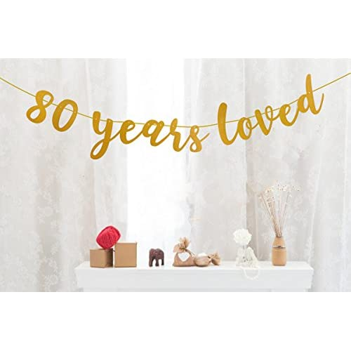 Cheap Fecedy Gold Glittery 80 Years Loved Banner For 80th Birthday Party Decorations