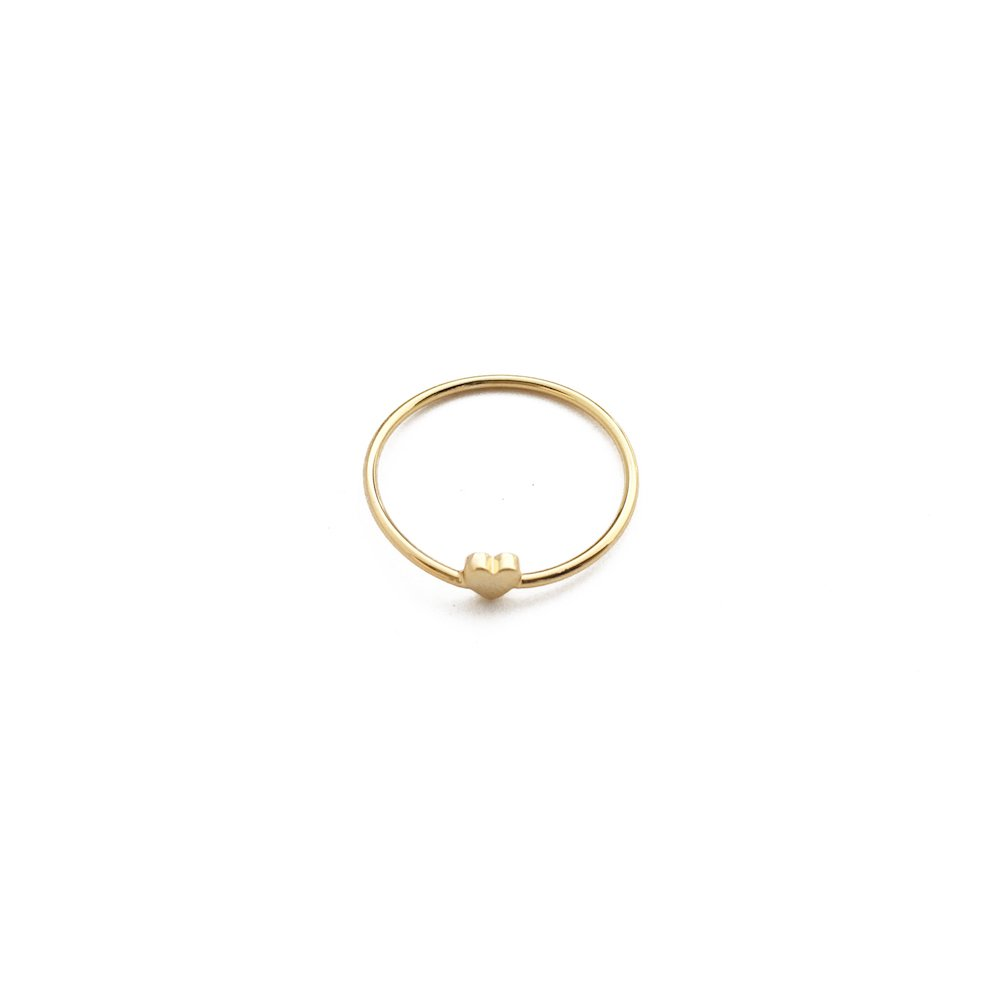 HONEYCAT Tiny Heart Ring in 24k Gold Plate, 18k Rose Gold Plate, or Sterling Silver Plate | Minimalist, Delicate Jewelry (Gold)