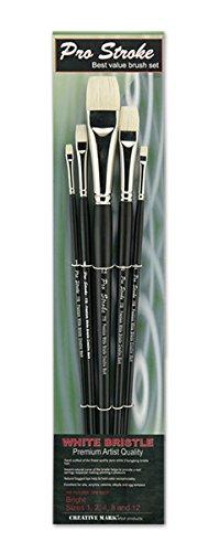 - Creative Mark Pro Stroke Premium Artist White ChungKing Hog Bristle Paint Brush - Bright [5 Piece Value Set]