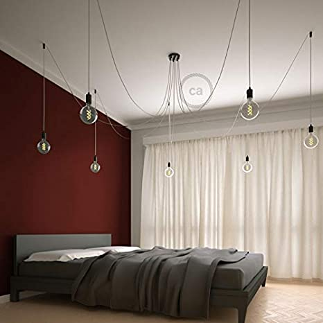 Multiple Suspension with 7 Pendants Cylindrical Swag Hook Creative Cables Spider Black Metal RM01 White Cable DIY kit