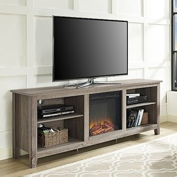 (70-inch Ash Grey TV Stand with Fireplace)