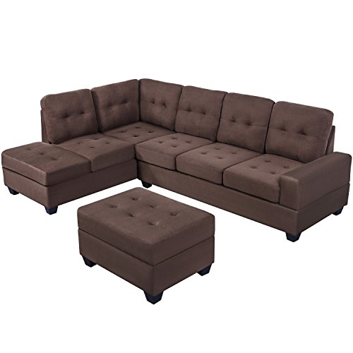 Harper & Bright Designs 3 Piece Sectional Sofa Microfiber with Reversible Chaise Lounge Storage Ottoman and Cup Holders (Brown)