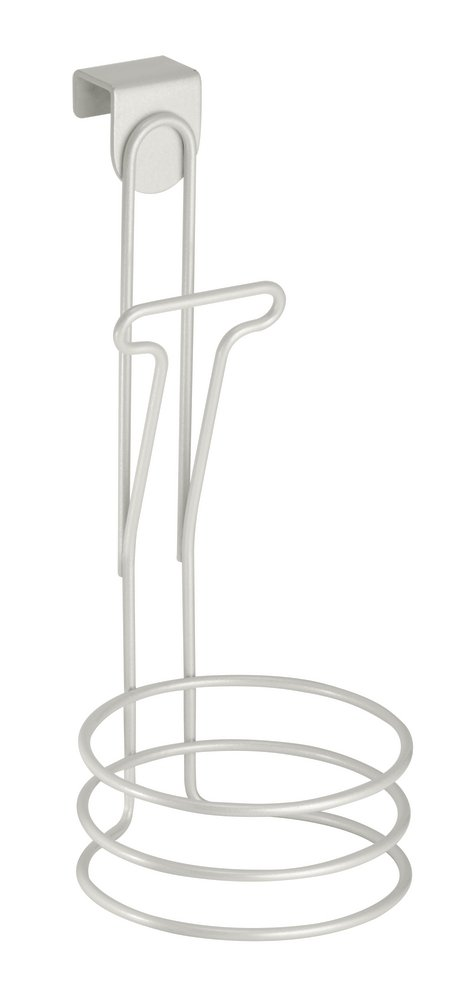 InterDesign Classico Over the Door Hair Dryer Holder, Metal Hair Dryer and Straightener Holder, White 69224