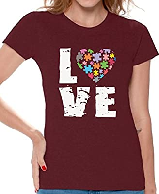 Awkward Styles Women's Love Puzzles Autism Awareness Graphic T shirt Tops Autistic Support
