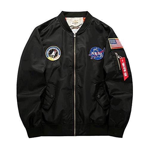 Men's Padded MA-1 Bomber Jacket Classic Long Sleeve Thick Pilot Flight Coat Black