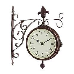 BESTIME 14inch Metal Case Double Side Clock. Antique Tin Look. Indoor/Outdoor Garden