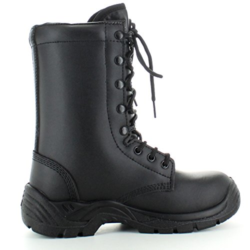 Highlander Mens Pathfinder Military Mid Action Leather Combat Boots Black