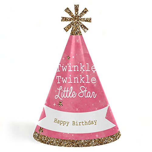 Big Dot of Happiness Pink Twinkle Twinkle Little Star - Cone Happy Birthday Party Hats for Kids and Adults - Set of 8 (Standard Size) (Girls Standard Star)