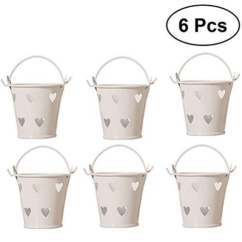 Heart Pail Heart Pail - Toyvian 6pcs Hollow Heart Shape Mini Buckets Metal Iron Candy Box Bucket Wedding Party Favor Gift Bucket (White)
