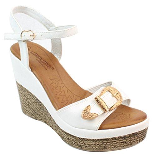 Elegant Footwear Prom/party Wedges Dress Sandals Laurel-2 White PMSa7B