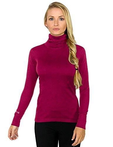 Woolx Women's Merino Wool Turtleneck - Ultimate Warmth & Style - Sangria - SML (Sweatshirt Wool Womens)