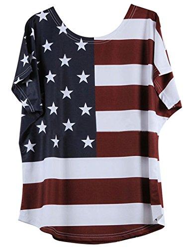 Chellysun Women's Sexy Short Sleeve American Flap Print Loose Blouse Shirt