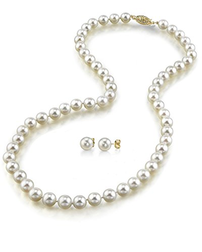 14K Gold 7-8mm White Freshwater Cultured Pearl Necklace & Earrings Set, 16'' Length - AAA Quality by The Pearl Source