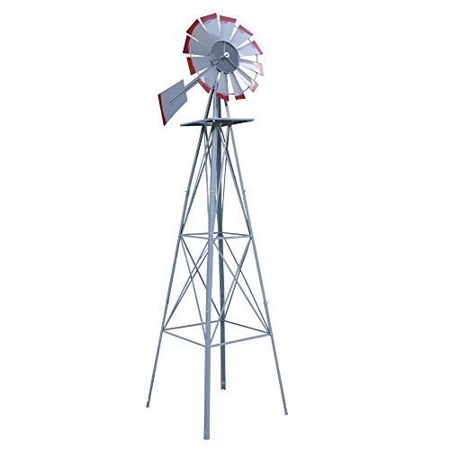 Spinner Tip - Windmills & Wind Spinners NEW 8ft. Silver - Red Tips Ornamental Decorative Garden Yard Windmill