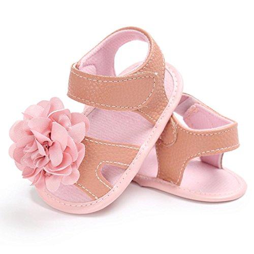 Hunpta Kleinkind Mädchen Krippe Schuhe Neugeborene Blume Soft Sohle Anti-Rutsch Baby Sneakers Sandalen Beige