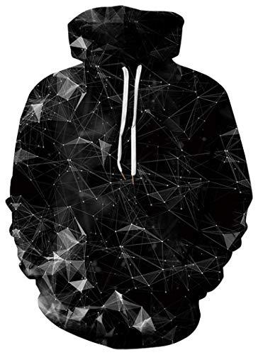 (BarbedRose Unisex Realistic 3D Printed Athletic Pullover Sweatshirt Hoodies,Black Galaxy,S/M)