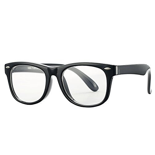 Pro Acme TPEE Rubber Flexible Kids Nerd Glasses Clear Lens Geek Fake for Costume (Age 3-10) (Black)
