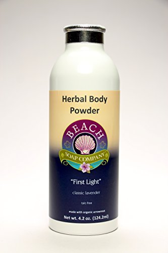 Talc Free Organic Body Powder, First Light Scent (Lavender Essential Oil). Made and sold by Beach Organics. 4.2 oz. by Beach Organics Skin Care