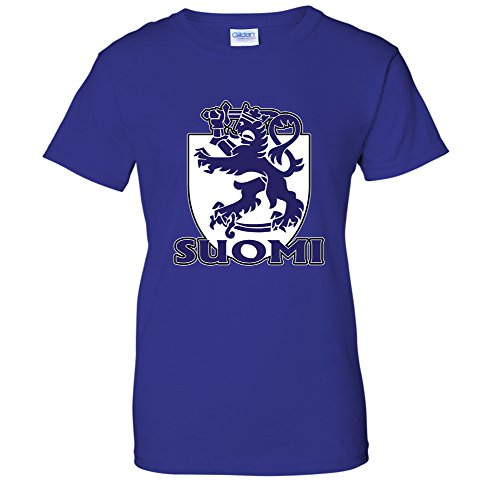 Suomi -Finnish Heraldic Lion Coat Of Arms Crest Finland Pride WOMENS T-Shirt (Small Royal) (Finnish Of Coat Arms)