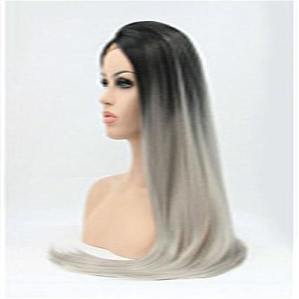 instylehair larga recta Negro raíz Ombre gris Lace Frente Peluca Pelo Sintético Pelucas Para Las Mujeres
