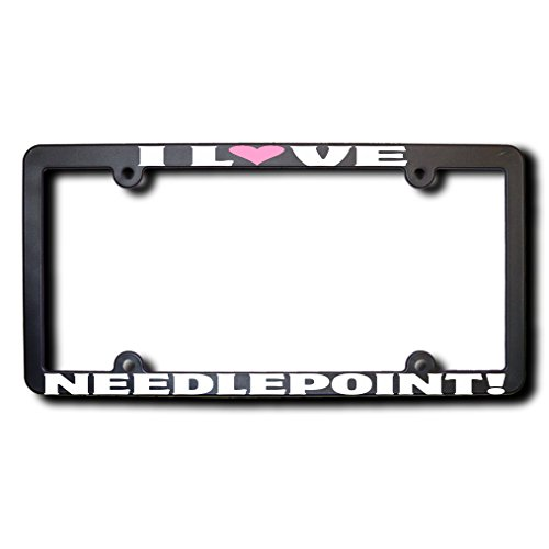 Heart Needlepoint (I Love NEEDLEPOINT License Plate Frame w/Pink heart)