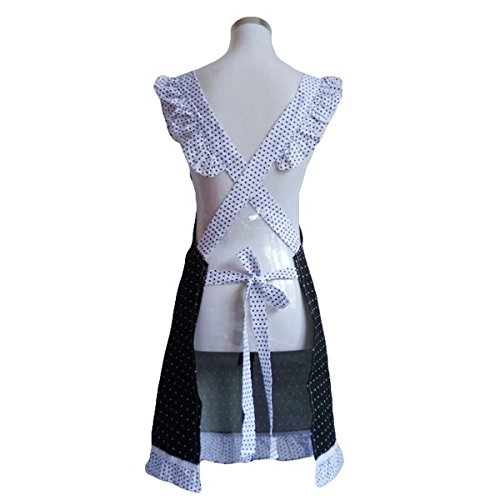 Kalevel Cute Princess Elegant Cotton Cloth Aprons for Women with Pockets Adult Kitchen Apron Black White