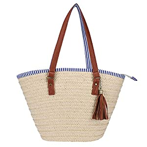 Sornean Straw Beach Bag Handbags Shoulder Bag Tote,Striped Lining,PU Leather Handle-Eco Friendly