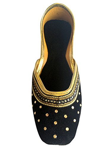 Flat Jutti Black n Velvet Shoes Handmade Khussa Style Women Ballerina Punjabi Step Mojari 8wtx7dqw