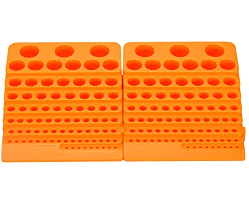 Wokesi 2 Pieces General Manufacturing Tool Organizer Tray Storage Racks Containers 84 Holes for Spring Collet Chuck Endmills Cnc Cutter