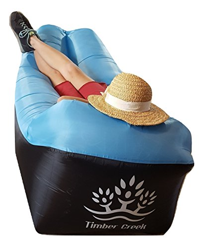 Timber Creek Inflatable Blow up, Air Lounger, Camp Couch, Sofa, Hammock, with Bag, Bottle opener, Anchor and Pockets for phone to relax indoor or outdoor, hike, camp, at beach, park, concert, (Kona Outdoor Furniture)