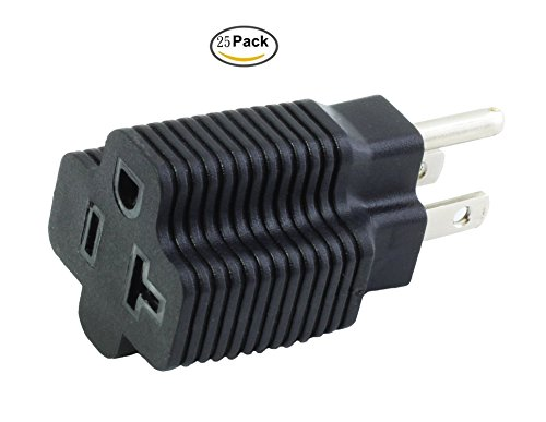AC WORKS 15 Amp Household Plug to 20 Amp T-Blade Female Adapter ...