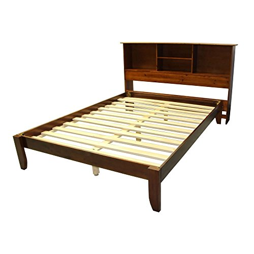 EpicFurnishings Scandinavia Full-size Solid Bamboo Wood Platform Bed with Bookcase-style Headboard Mahogany Mahogany Finish