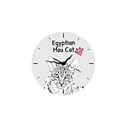 Egyptian Mau Cat, freestanding MDF floor clock with an image of a cat
