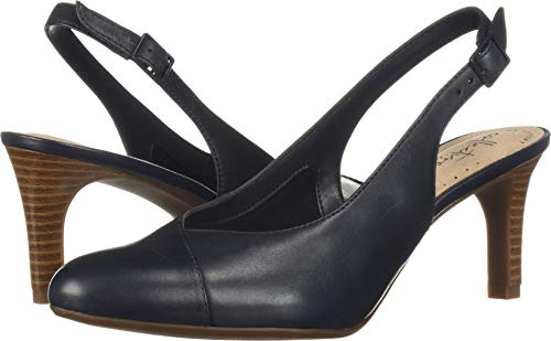 Pump Navy Leather - CLARKS Women's Dancer Mix Pump, Navy Leather, 050 M US