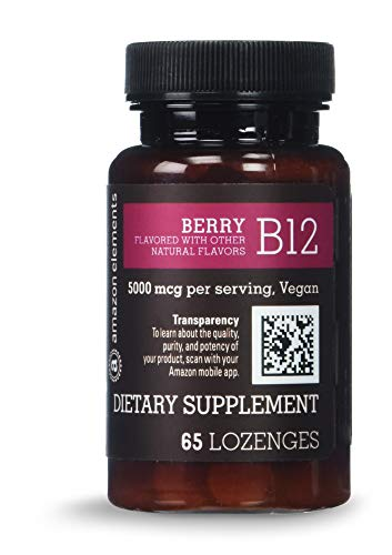 Amazon Elements Vitamin B12 Methylcobalamin 5000mcg, 65 Berry Flavored Lozenges, 2 month supply