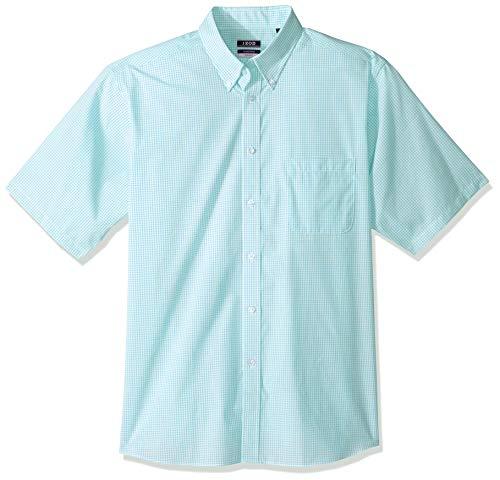 IZOD Men's Regular Fit Short Sleeve Check Dress Shirt, Aqua, 18
