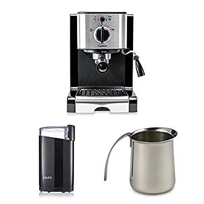 Pump Espresso & Cappuccino Machine bundle, includes Black Coffee Grinder and 12 oz. Frothing Pitcher from Capresso