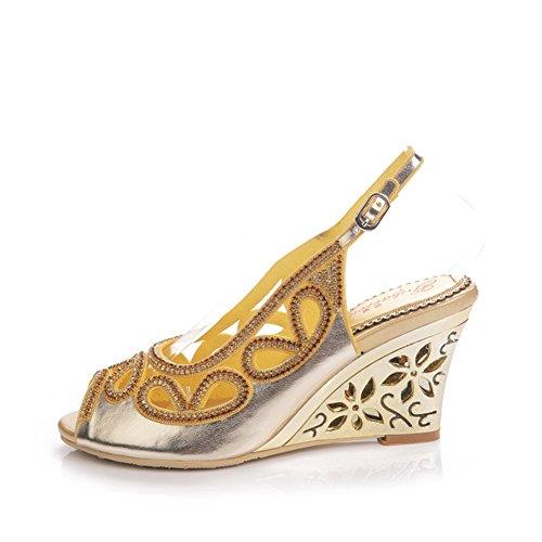 de Color Verano Zapatos Abierta tamaño de Punta Mujer Hueca Oro de Alto tacón Diamantes Boca Pendiente de Zapatos 34 Sandalias Zapatos Tacón de de de Sandalias imitación de qfPPxSX