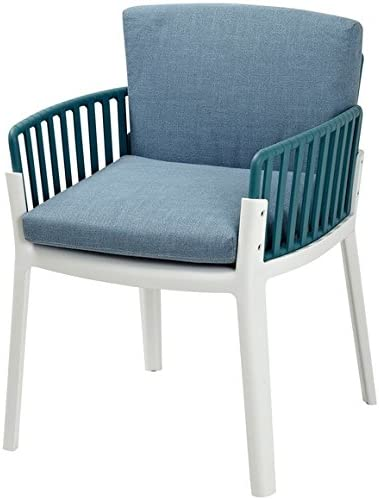Sunny Teal andホワイトツートンカラーChair with Removableブルークッション(Set of 2 ) (dhf-sun-cha-upp-twb)