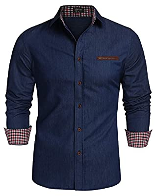 JINIDU Men's Casual Denim Button Down Dress Shirt Long Sleeve Plaid Shirts
