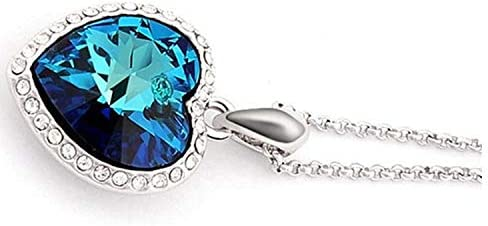 STRASS /& PAILLETTES Collier Coeur de locean Collier Titanic Coeur Cristal Bleu Turquoise et Zircon