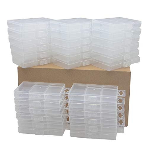 BangQiao 30 Pack Tiny Plastic Clear Storage Parts Case Box with 5 Fixed Grids for Nail, Screw, Fastener, Hook, Hanging Kit, Wall Anchor and Wedge, 2.50 Inch Wx3.85 Inch L (Nuts Storage Containers And For Bolts)