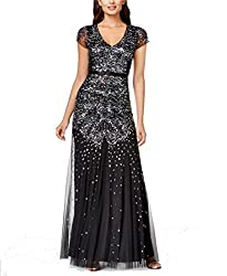 Black Colour Plus-Size Short Sleeve V Neck Beaded Gown