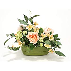 Distinctive Designs Snowballs, Peonies, Dogwood and Foliage in Sage Green Lion's Head Planter 8