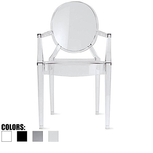 2xhome Ghost arm (Clear) Dining Chair